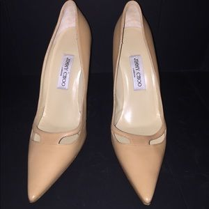 Jimmy Choo leather pointed toe pumps.